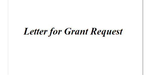 Letter for Grant Request