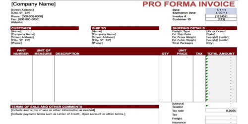 Pro-forma Invoice