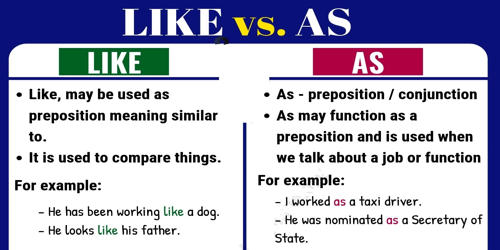 Difference between Like and As