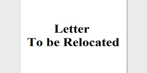 Request Letter to be Relocated