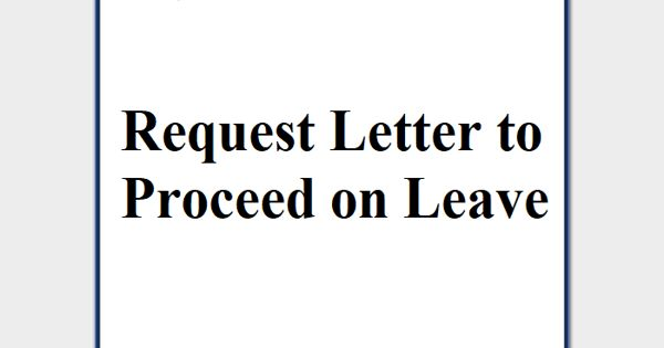 Request Letter to Proceed on Leave