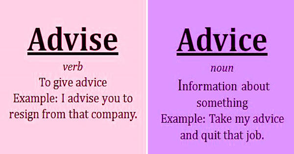 Difference between Advice and Advise