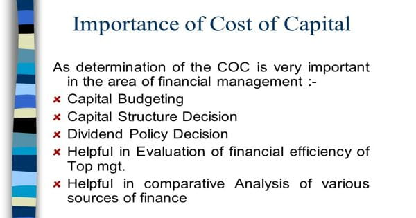 Importance of Cost of Capital