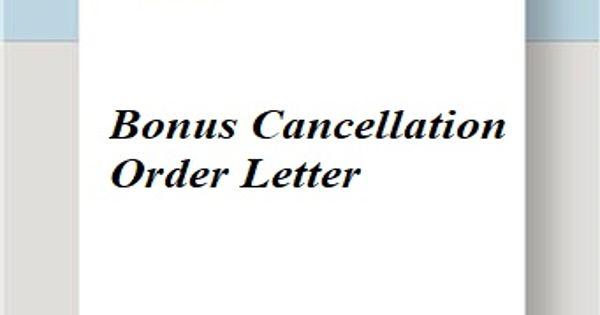 Bonus Cancellation Order Letter