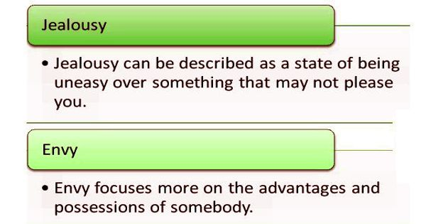 Difference between Jealousy and Envy