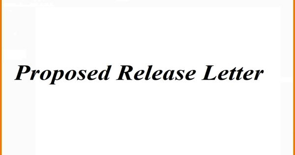 Proposed Release Letter Format