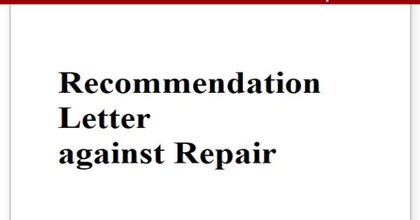 Recommendation Letter against Repair
