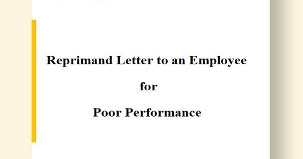 Reprimand Letter to an Employee for Poor Performance