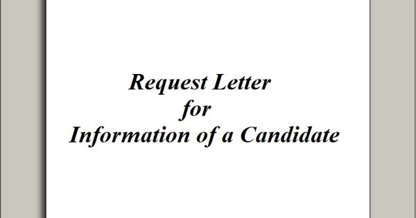 Request Letter for Information of a Candidate