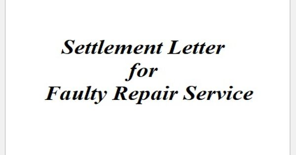 Settlement Letter for Faulty Repair Service