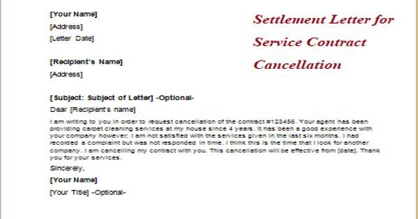 Settlement Letter for Service Contract Cancellation