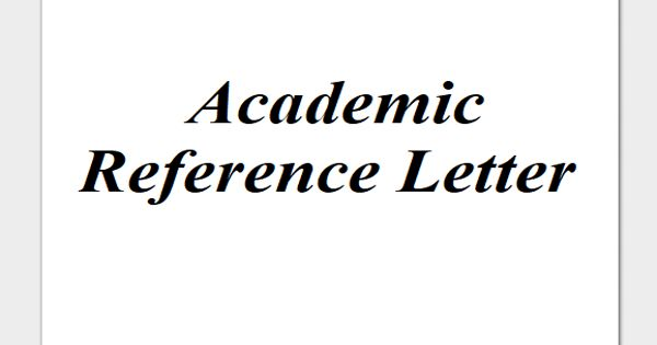 Sample Academic Reference Letter Format