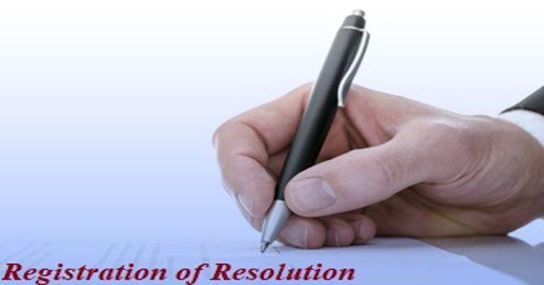 Registration of Resolution