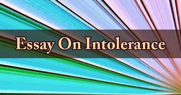 Essay On Intolerance