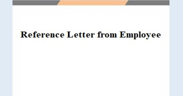 Reference Letter from Employee