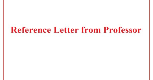 Reference Letter From Professor