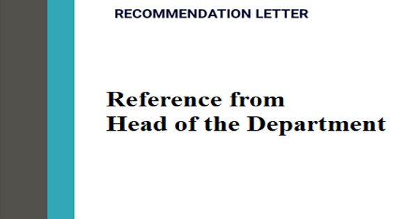 Reference from Head of the Department