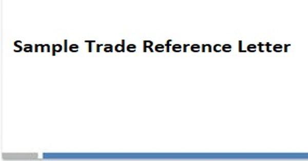 Sample Trade Reference Letter