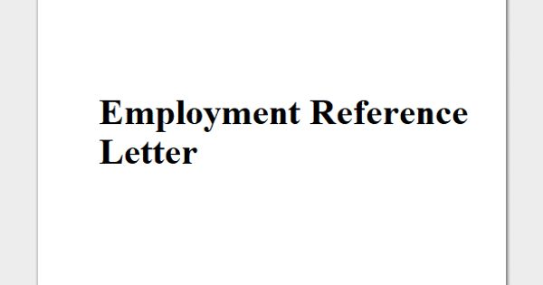 Sample Employment Reference Letter Format