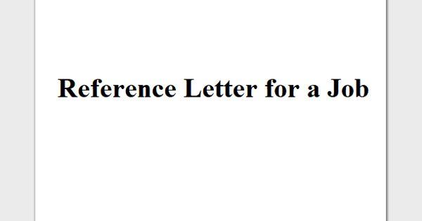 Reference Letter for a Job