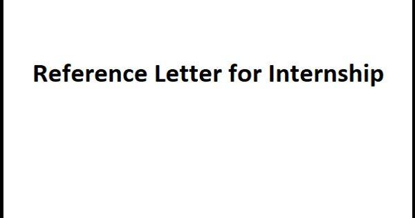 Sample Reference Letter for Internship