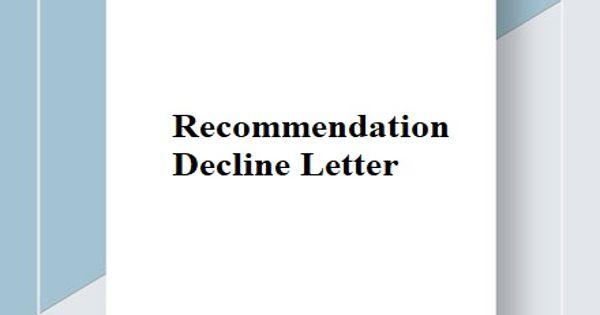 Recommendation Decline Letter