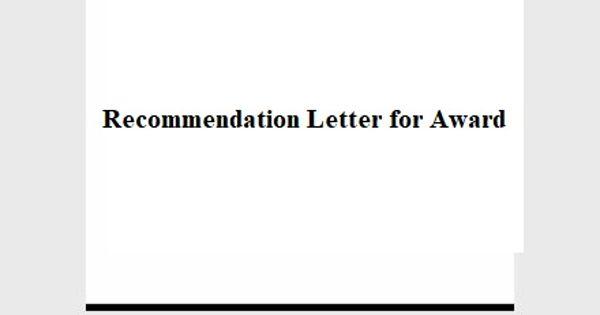 Recommendation Letter for Award