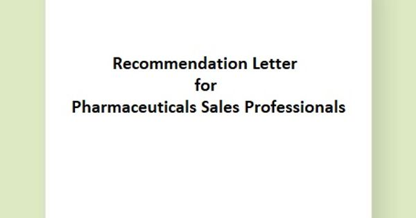 Recommendation Letter for Pharmaceuticals Sales Professionals