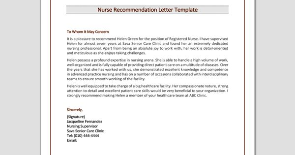 Recommendation Letter for the job of nursing