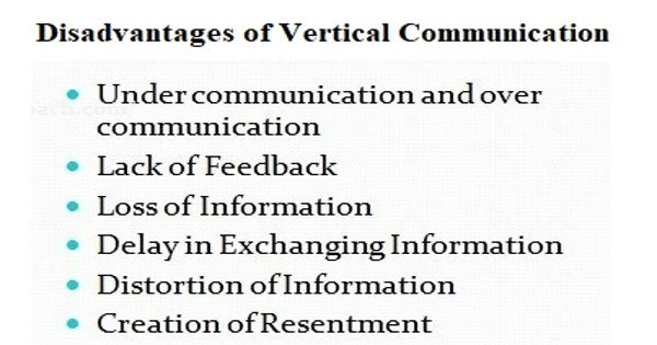 Disadvantages of vertical communication