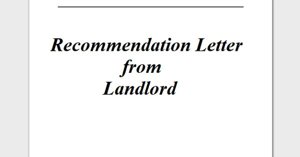 Recommendation Letter from Landlord