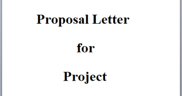Sample Proposal Letter for Project