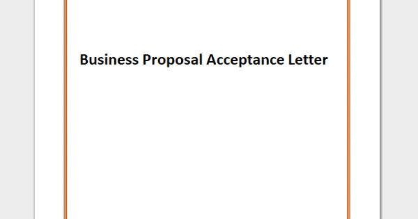 Business Proposal Acceptance Letter Format