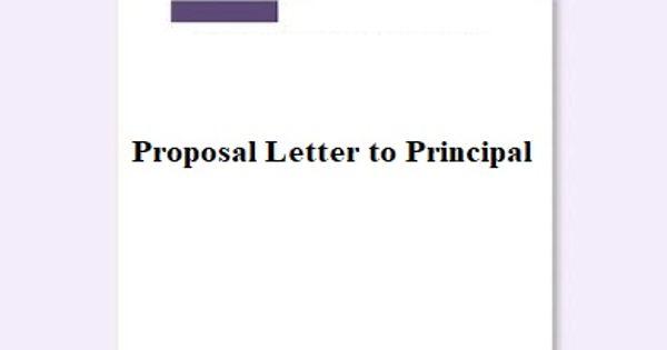 Sample Proposal Letter to Principal