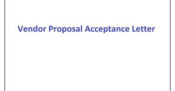 Sample Vendor Proposal Acceptance Letter Format