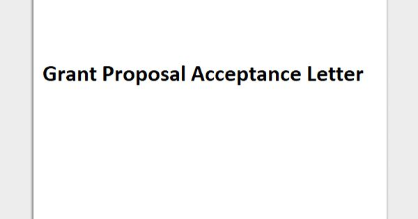 Sample Grant Proposal Acceptance Letter Format
