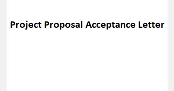 Sample Project Proposal Acceptance Letter Format