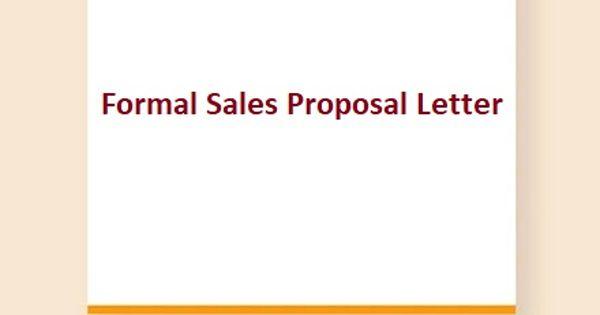 Formal Sales Proposal Letter