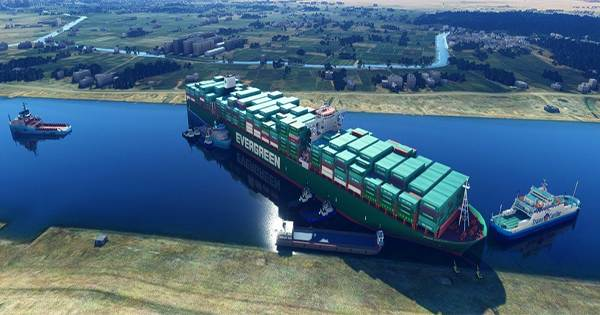 The Container Ship Blocking The Suez Canal Noticed In Microsoft Flight Simulator