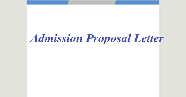Sample Admission Proposal Letter