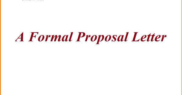 A Formal Proposal Letter