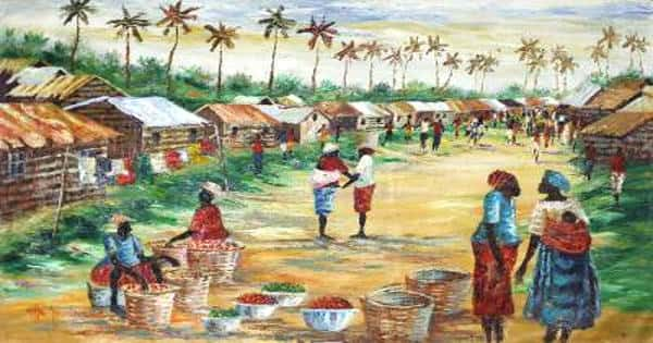 A Market Scene in the Village