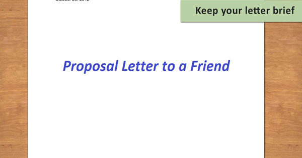 Sample Proposal Letter to a Friend
