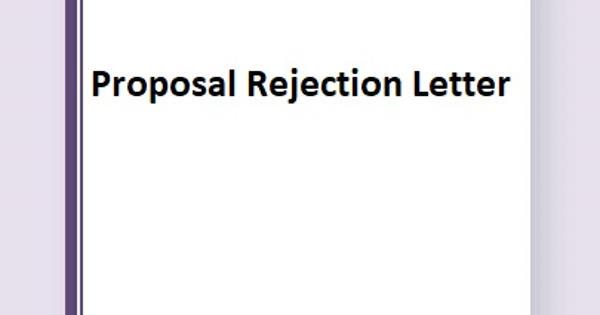 Sample Proposal Rejection Letter Format