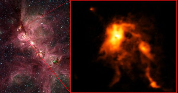 Astronomers discover Jet Material Ejected by Massive Protostars and Mess-massive Protostars