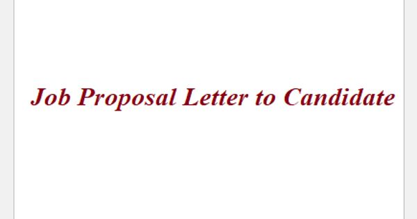 Job Proposal Letter to Candidate