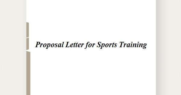 Proposal Letter for Sports Training