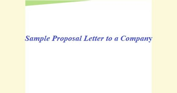 Sample Proposal Letter to a Company