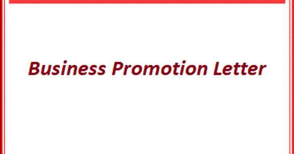 Business Promotion Letter Format