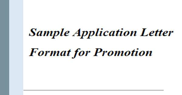 Sample Application Letter Format for Promotion